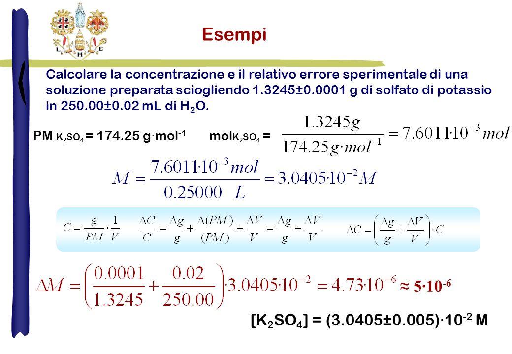 Esempi ≈ 5·10-6 [K2SO4] = (3.0405±0.005)·10-2 M